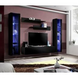 Meuble TV FLY A2 design, coloris noir brillant + LED. Meuble suspendu moderne et tendance pour votre salon.