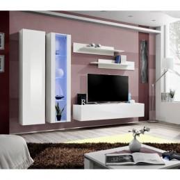 Meuble TV FLY A4 design, coloris blanc brillant + LED. Meuble suspendu moderne et tendance pour votre salon.