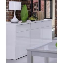 Buffet, bahut, enfilade 3 portes et 3 tiroirs FABIO + Miroir. Coloris blanc brillant. Meuble pour salon salle à manger