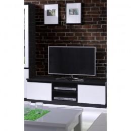 Meuble TV FABIO 2 portes coloris noir et blanc.Meuble design pour votre salon.