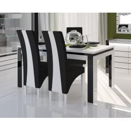 Table 180 cm + 6 chaises LINA. Table pour salle à manger brillante blanche et noire avec 6 chaises simili cuir. Meubles design