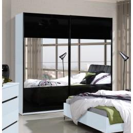 Armoire garde robe SARAGOSSA avec deux portes coulissantes blanche et noire brillante + miroirs