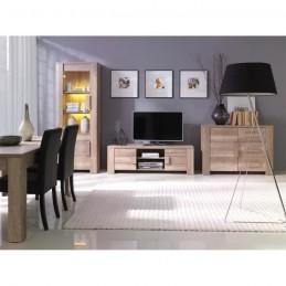 Ensemble meubles de salon complet FARRA. Vitrine petit modèle + led, meuble tv, buffet bas et table basse.